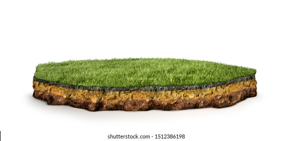 island .Cross section of land with grass. 3d illustration