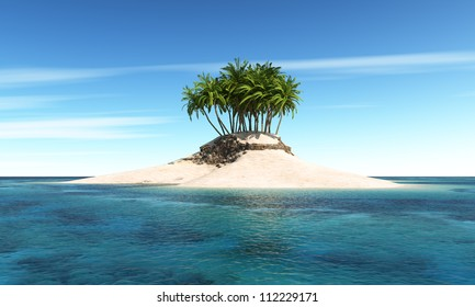 Island with palm tree with Sky Background