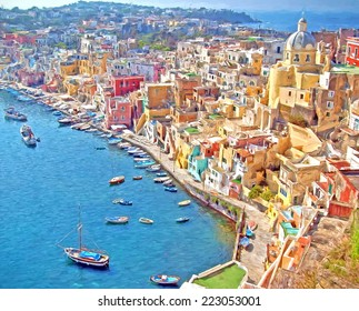 Island of Procida, Gulf of Naples, Italy  -- illustration based on own photo image. Pittoresque village of Corricella with harbor