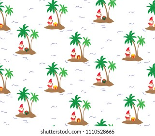 Island Santa Claus - seamless repeating pattern. Perfect for greeting cards, wrapping paper, and stationery.