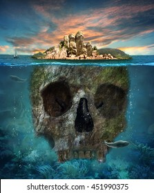 Island. Underwater scull. Concept graphic in soft oil painting style