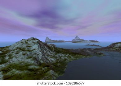 Islands, 3D rendering, a mediterranean landscape, rocks and grass, a beautiful sea and a colorful sky.