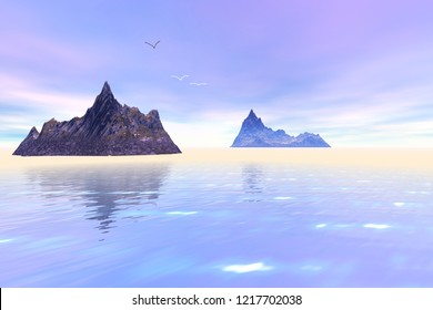 Islands, 3d rendering, a mediterranean landscape, reflection on water and birds in the sky.