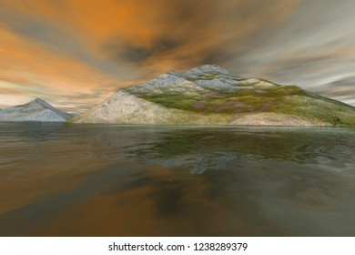 Islands, 3d rendering, a mediterranean landscape, rocky mountains with grass on the ground, reflection on water and orange clouds in the sky.