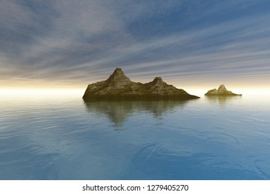 Islands, 3d rendering, a mediterranean landscape, reflection in the sea and rays of the sun in the sky.