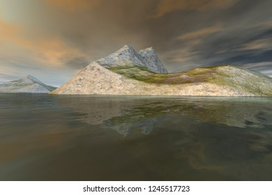 Islands, 3d rendering, a rocky landscape, grass on the ground, reflection on water and a clouds in the sky.