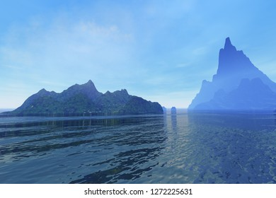 Islands, 3d rendering, a tropical landscape, rocks and wonderful waters and clouds in the sky.