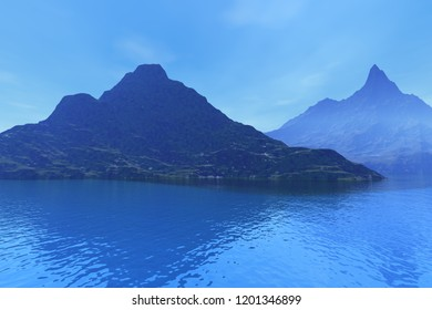 Islands, a tropical landscape, 3D rendering, blue water and a cloudy sky.