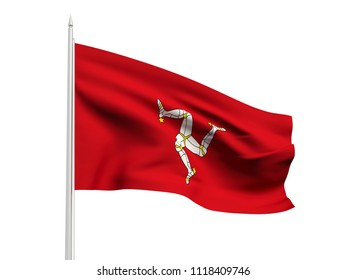 Isle of Man flag floating in the wind with a White sky background. 3D illustration.