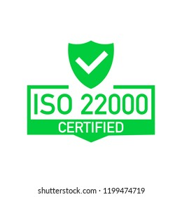 ISO 22000 Certified badge, icon. Certification stamp. Flat design .  stock illustration.