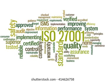 ISO 27001 - Information security management, word cloud concept on white background.