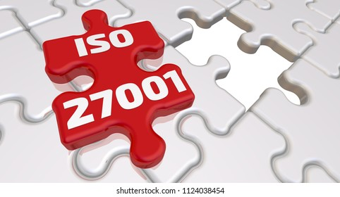 ISO 27001. The inscription on the missing element of the puzzle. Folded white puzzles elements and one red with text: ISO 27001 (information security standard). 3D Illustration