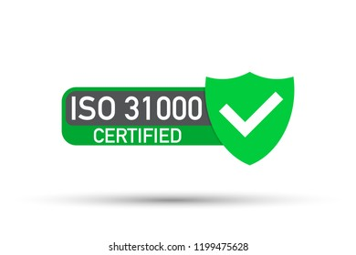 ISO 31000 Certified badge, icon. Certification stamp. Flat design .  stock illustration.