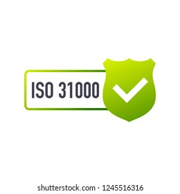 ISO 31000 Certified badge, icon. Certification stamp. Flat design.  stock illustration.