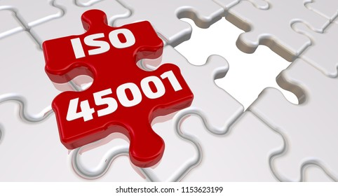 ISO 45001. Folded white puzzles elements and one red with text ISO 45001 - is an International Standard that specifies requirements for an occupational health and safety management system