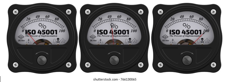 """ISO 45001. The percent of implementation. Analog indicator showing the level of implementation """"ISO 45001"""" (ISO 45001 - Occupational Health and Safety Management Standard, set to replace  OHSAS 18001)"""
