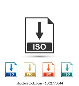 ISO file document icon. Download ISO button icon isolated on white background. Set elements in colored icons. Flat design.