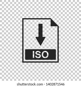 ISO file document icon. Download ISO button icon isolated on transparent background. Flat design