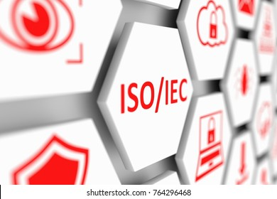 ISO IEC concept cell blurred background 3d illustration
