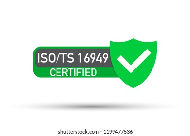 ISO TS 16949 Certified badge, icon. Certification stamp. Flat design .  stock illustration.