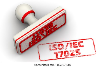 ISO/IEC 17025. The seal. One white seal and red imprint with text ISO/IEC 17025 (TESTING AND CALIBRATION LABORATORIES). 3D illustration