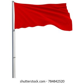 Isolate red flag on a flagpole fluttering in the wind on a white background, 3d rendering