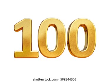 ISOLATED 100th Anniversary, 100th birthday, 100 years, Number One Hundred Gold, Numeral 100, 100th Number, Numeral 100,  100 Years Anniversary Gold Sign, Number Hundred,  Anniversary Banner