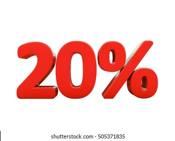 Isolated 20 Percent Discount 3d Sign on White Background, Special Offer 20% Discount Tag, Sale Up to 20 Percent Off, Sale Symbol, Special Offer Label, Sticker, Tag, Badge, Emblem, Web Icon