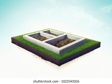 Isolated 3d illustration foundation of the house. White background