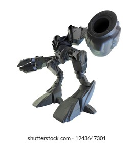 Isolated 3d illustration of a metal mechanic robot warrior with pilot seat, grab claw and gun angle view standing on white background.