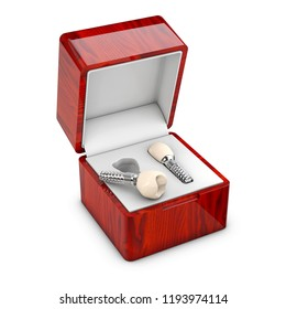 Isolated 3d illustration of a present box with a dental implant