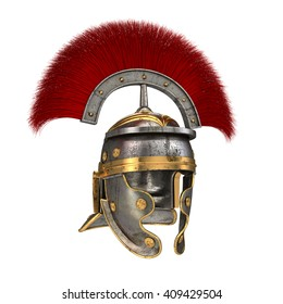 Isolated 3d illustration of a Roman Helmet with a scarlet plume