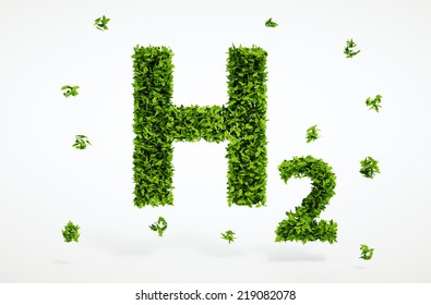 Isolated 3d render alternative ecology hydrogen concept with white background