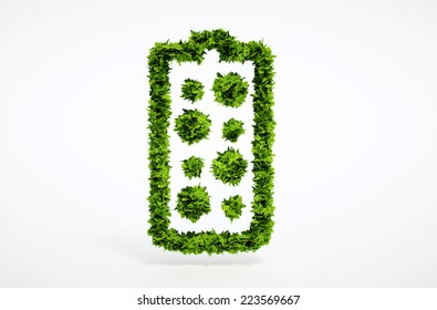Isolated 3d render alternative new battery concept with white background