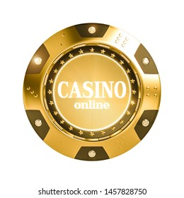 isolated 3d render golden casino chip with diamond. Concept of gambling