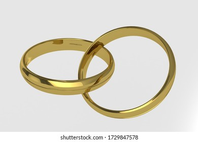 Isolated 3d render illustration of wedding rings