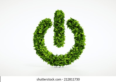 Isolated 3d render natural power on button home image with white background