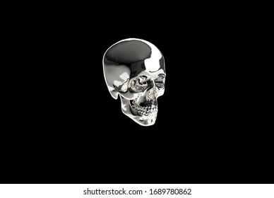 isolated 3d skull model concept render
