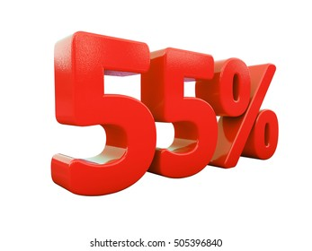 Isolated 55 Percent Discount 3d Sign on White Background, Special Offer 55% Discount Tag, Sale Up to 55 Percent Off, Sale Symbol, Special Offer Label, Sticker, Tag, Badge, Emblem, Web Icon