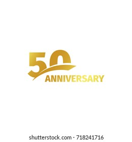 Isolated abstract golden 50th anniversary logo on white background. 50 number logotype. Fifty years jubilee celebration icon. Fiftieth birthday emblem. illustration
