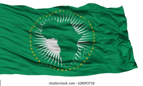 Isolated African Flag, Waving on White Background, High Resolution