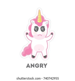 Isolated angry unicorn on white background. Funny cartoon emoji.