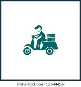 isolated bicycle and motor scooter icon. Motorcycle and bike with rider on road silhouette symbols.