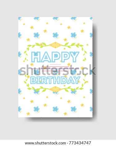 Isolated Birthday Card Greetings Cute Decorations Stock Illustration
