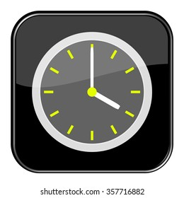 Isolated black button with time showing 4 o'clock