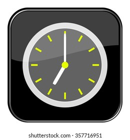 Isolated black button with time showing 7 o'clock