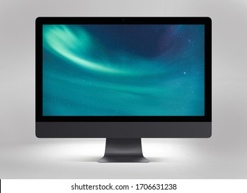 Isolated black imac computer mockup with a blue background on the desktop and a base of lead colors