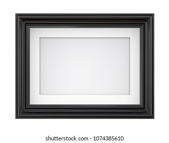 Isolated Black Picture Frame. 3D render of Vintage Black Frame with passe-partout. Blank for Copy Space. Isolated.