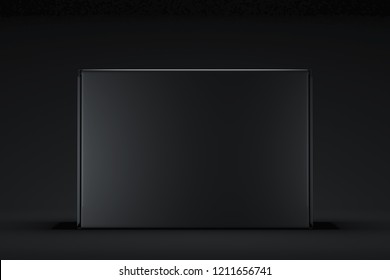 Isolated black realistic cardboard box on white background. 3d rendering.