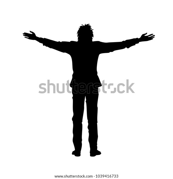 Isolated black silhouette of man with raised open arms outstretched, on white background. Front or back view. Contour outline style. Raster version of illustration